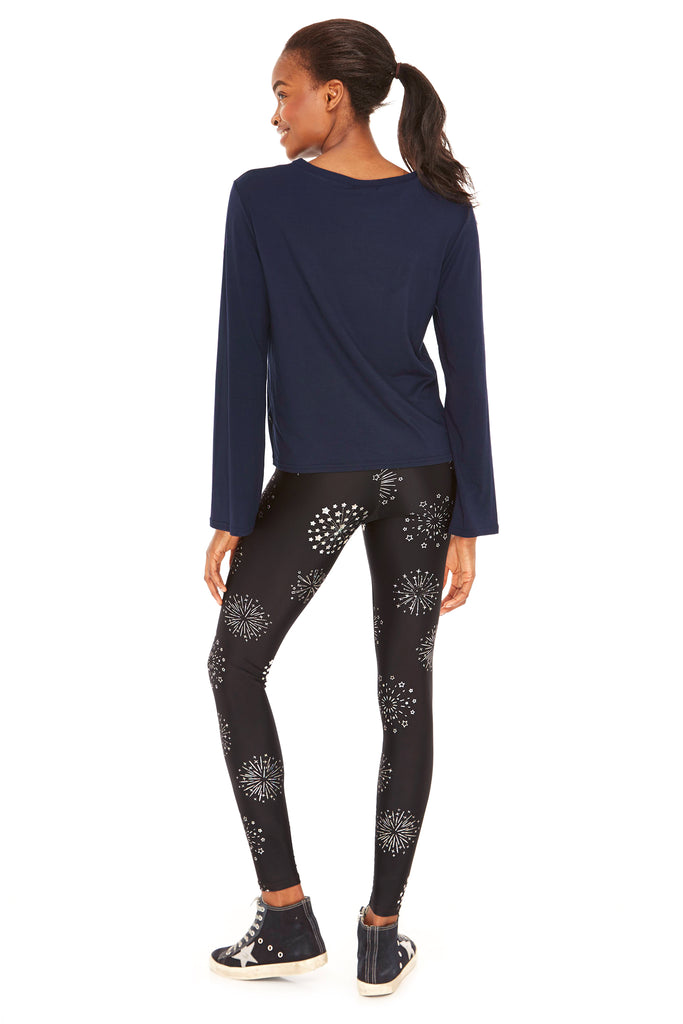 Hologram Starburst Foil Tall Band Leggings by Terez