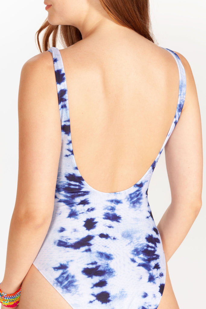 Blue Tie Dye One Piece Swimsuit