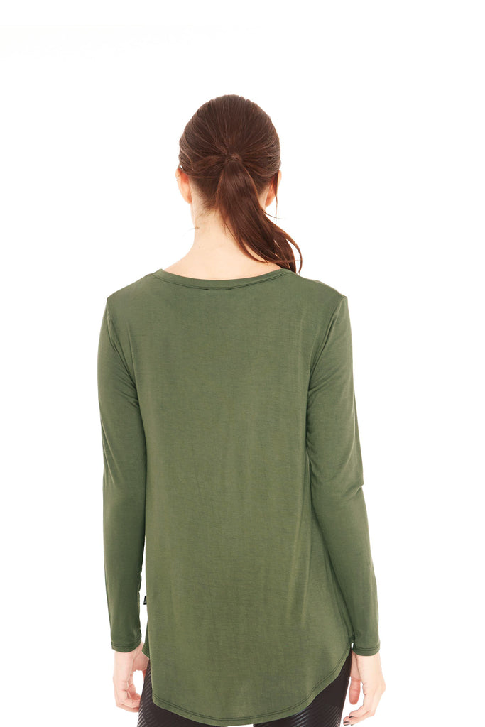 Army Green Twist Front Long Sleeve by Terez