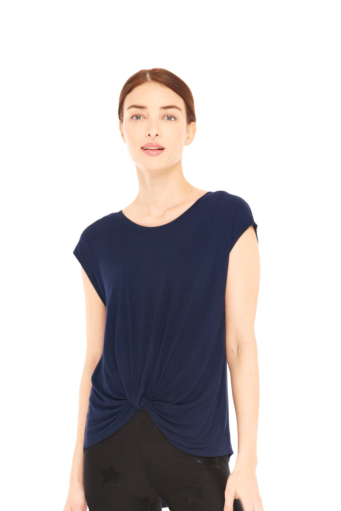 Navy Twist Front Cap Sleeve by Terez