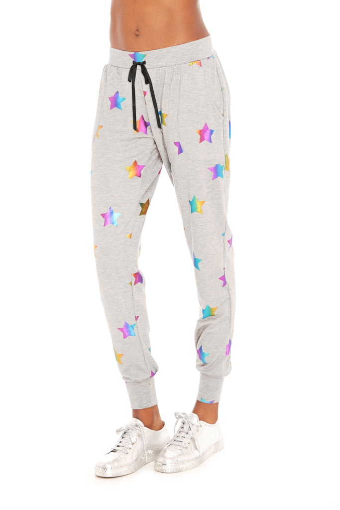 Rainbow Stars Foil French Terry Joggers by Terez