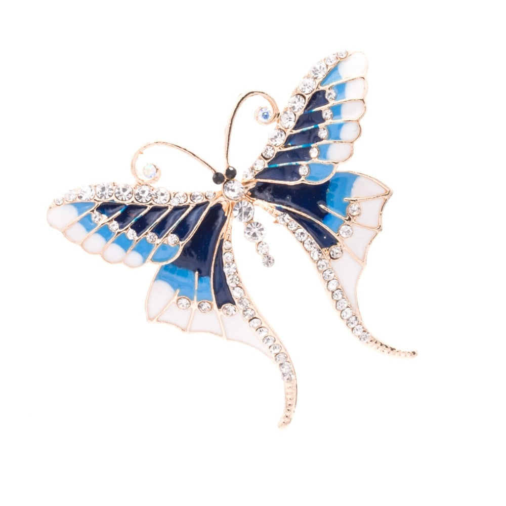 Fashion Brooch Blue Enamel Crystal Insect Butterfly Brooches Pin Women Jewelry