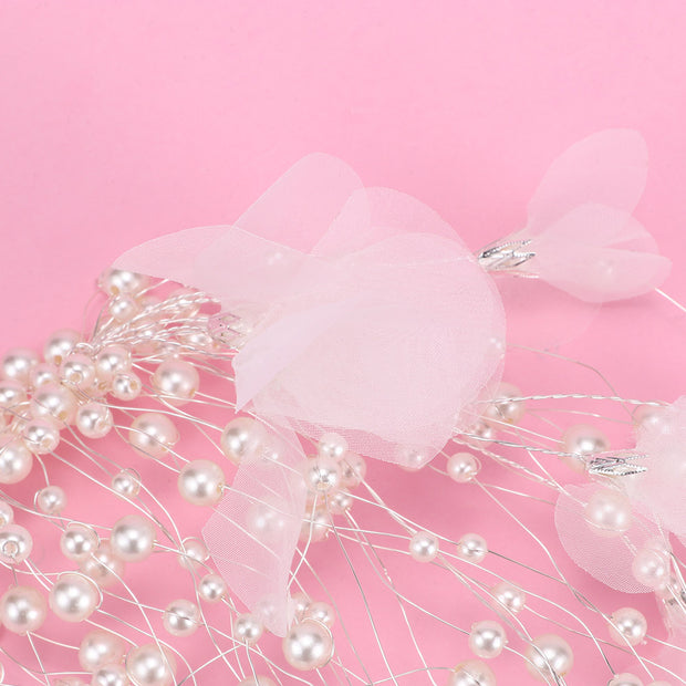 1 Pcs Classic Flower Leaves Simulated Pearl Long Bridal Hairbands Handmade Headdress Wedding Hair Jewelry