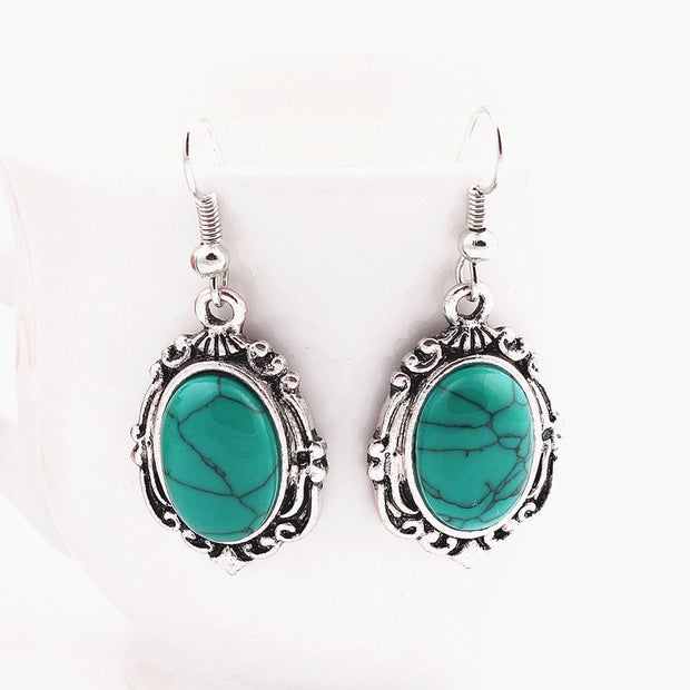 1 Set Sky Blue Retro European Style Bohemia Jewelry Sets Flower Carved Stone Earrings Set For Women Impressive Appearance