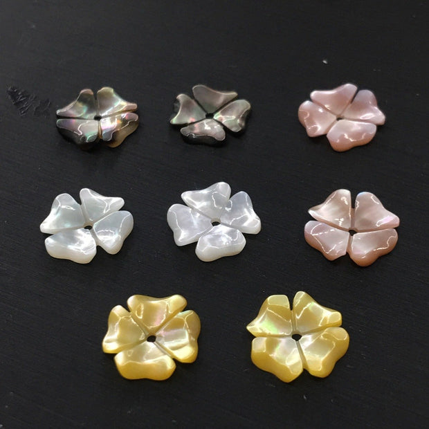10 Pcs Natural Engraving Four-petal Plane Three-dimensional Shell Flower DIY Earrings Pendant Brooch Jewelry Accessories 10 Mm