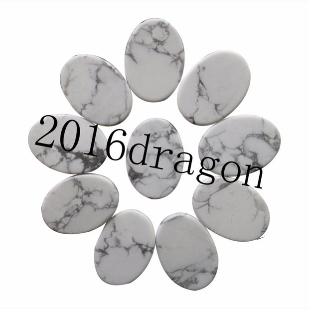 (10 Pieces/lot) Wholesale White Howlite Oval CAB CABOCHON 25x18x6mm Free Shipping Fashion Jewelry