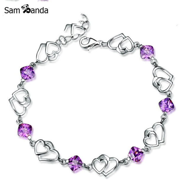 100% 925 Sterling Silver Jewelry Natural Color Crystal Bead Bracelet Women Bracelets Fine Gifts Jewelry