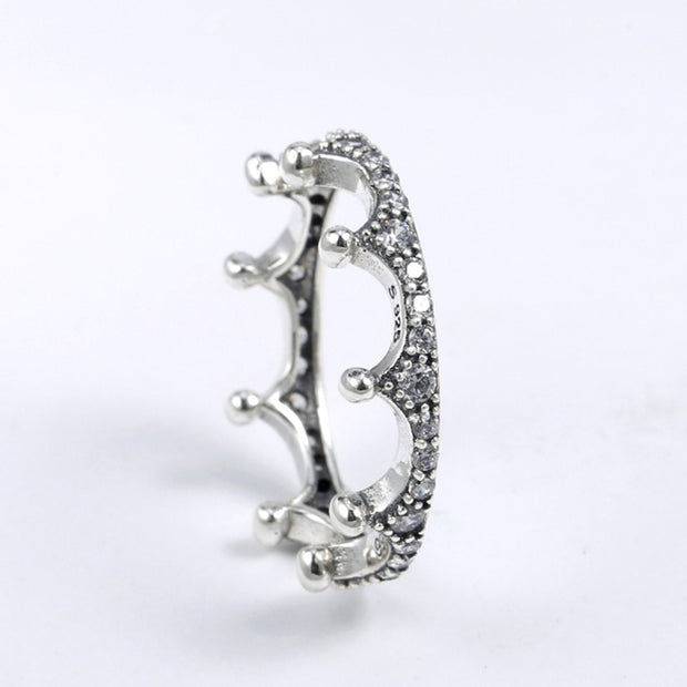 100% 925 Sterling Silver Personality Stacked Mosaic Crystal Magic Crown Rings Original Birthday Gift Party Fit Women's Jewelry