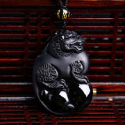 100% Natural Black Obsidian Carved Chinese Kylin PiXiu Lucky Pendant + Free Necklace Fashion Crystal For Woman Man's Jewelry