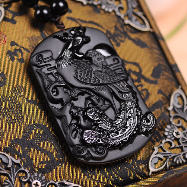 100% Natural Black Obsidian Stone Carving Chinese Phoenix Pendant Women Men's Amulet Lucky Jades Jewelry Pendants+Beads Necklace