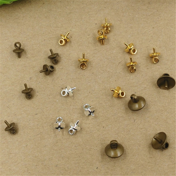 100 PCS 5mm 8mm Gold Antique Bronze Silver Tone Pendant Connector Bail Cup Cap Bead Cap DIY Jewelry Findings