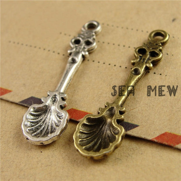 100 PCS 9*33MM Antique Bronze/silver Color Vintage Style Metal Zinc Alloy Spoon Pendant Charm For Jewelry Making