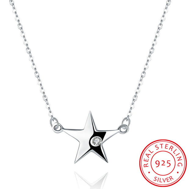 100% Pure 925 Sterling Silver Jewelry Cute Big Star With White Stone Pendant Necklace For Women Fine Wedding Jewelry