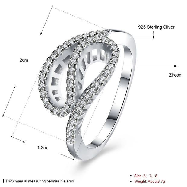 100% Pure 925 Sterling Silver Jewelry Cute Wave Line Snake Double Drop Crystal Stone Ring For Women Wedding Fine Jewelry