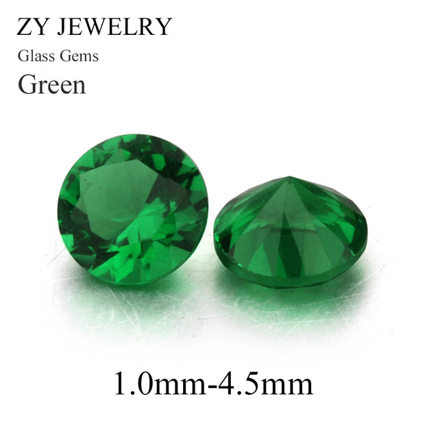 1000pcs 1.0~4.5mm Green Color Round Shape Machine Cut Loose Green Glass Stone Synthetic Gems For Jewlry