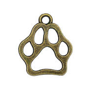 100pcs-Antique Bronze 2 Sided Dog Paw Charms Pendant 20x17mm