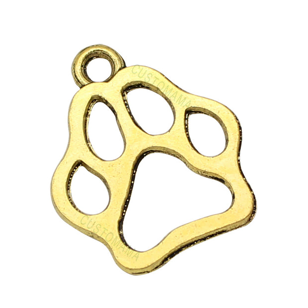 100pcs-Antique Gold 2 Sided Dog Paw Charms Pendant 20x17mm