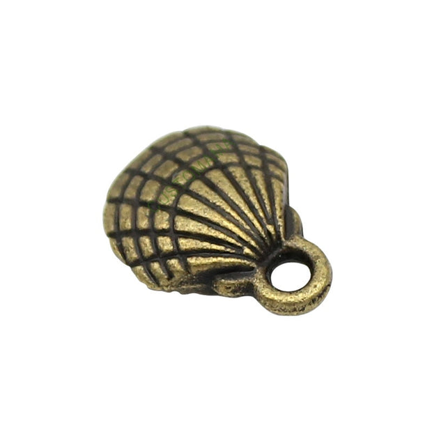 100pcs-Seashell Charms Antique Silver / Bronze Shell Charm Pendant 3D 13x10mm