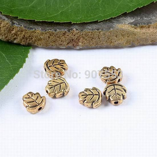 100pcs Dark Gold-tone 2sided Oblate Leaf Spacer Beads H1834