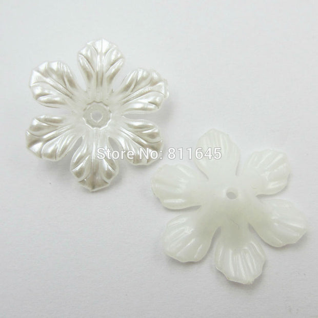 100pcs/lot 26mm Flower Shape Ivory Flat Back Imitation Pearls Beads For Jewelry Making Phone Decoration