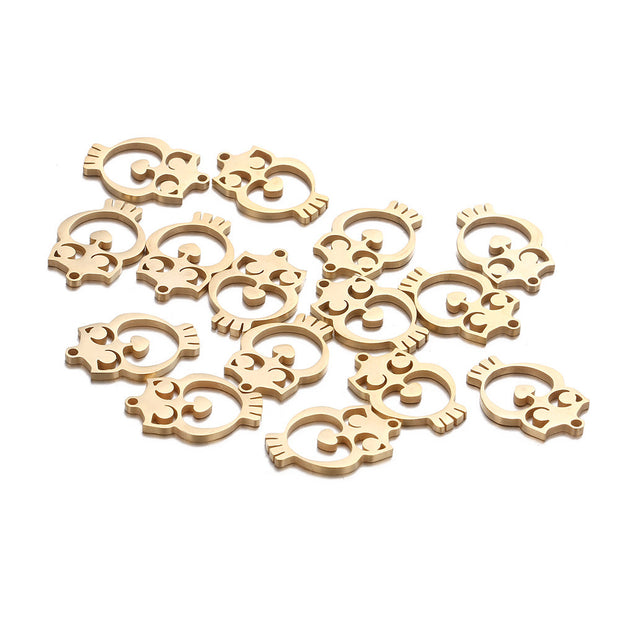 10PCS 15x20mm Cute Stainless Steel Gold Silver Color Hollow Out Owl Charms For Jewelry Owl Necklaces Pendant Making Accessories