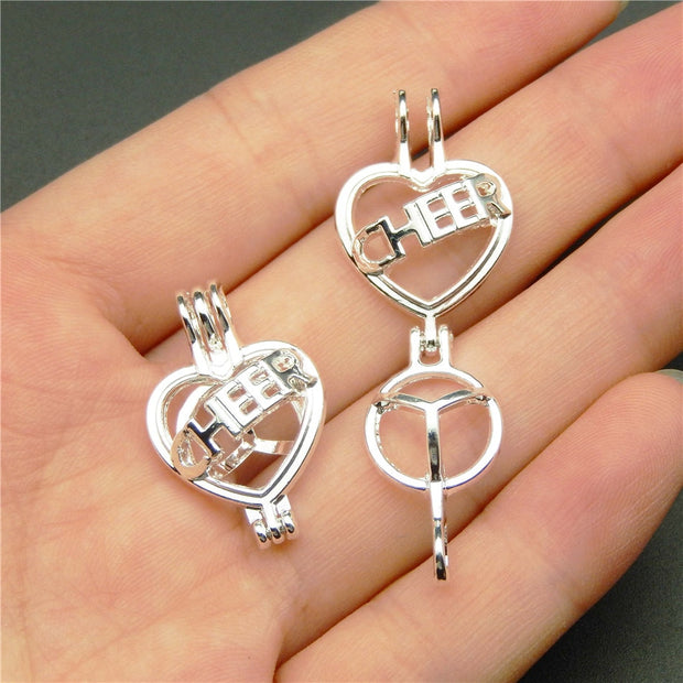 10PCS Bright Silver Pearl Cage Pendant Necklace Women Aromatherapy Essential Oil Diffuser Jewelry Necklace Making Oyster Pearl