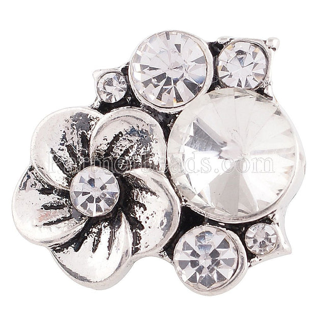 10PCS Wholesale Flower Silver Plated Rhinestone Snap Jewelry ODM 18mm Crystal Snap Button Fit Bangles Necklace Jewelry KC6330