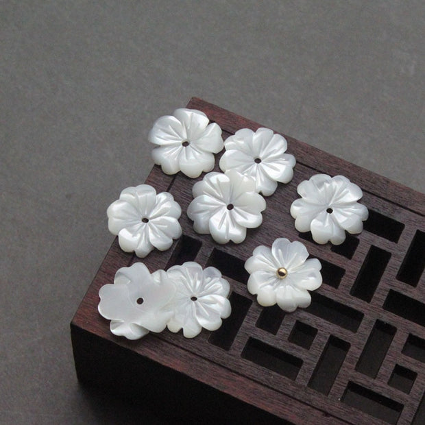 8//10mm White Natural Pearl Mother Pearl Shell Pearl Flower Jewelry Making 10pcs