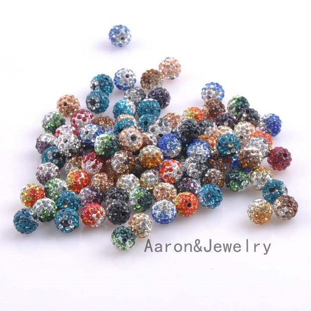 10mm 50pcs Mixed Gradient Color Disco Ball Beads Crystal Shamballa Beads Fit Jewelry Handmade XB-10-S