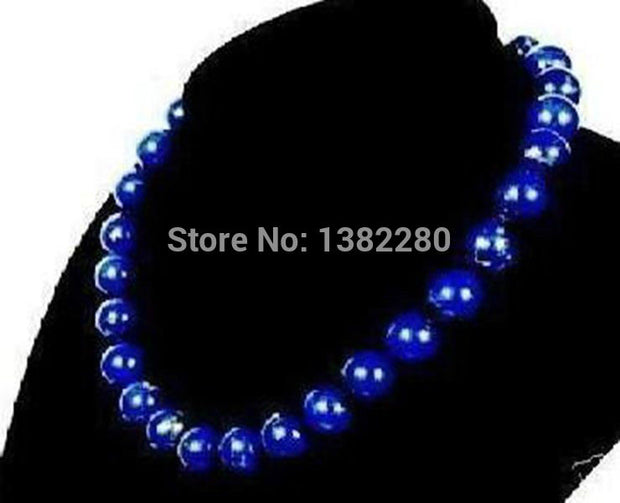 ! 10mm Egyptian Lapis Lazuli Necklace 18 Inches Fashion Women And Girls Jewelry Gift JT5465