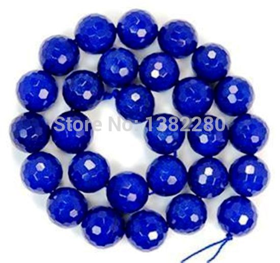 ! 10mm Facet Blue Chalcedony Stone Round Loose Beads 15'' Fashion DIY Girl Jewelry Making JT5166
