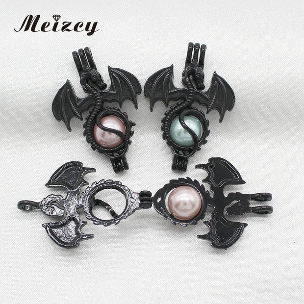 10pcs Black Flying Dragon Pearl Cage Diffuser Lockets Pendant For Aromatherapy Perfume Essential Oil Necklace Making
