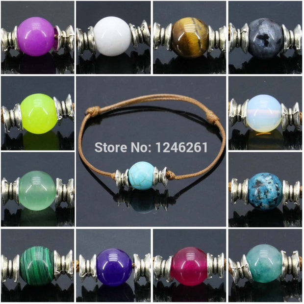 10pcs Natural Stone Beads Bracelet Round Accessory Jewelry Making Bracelet Strand Lucky Women Girls Birthday Present Gifts 10mm