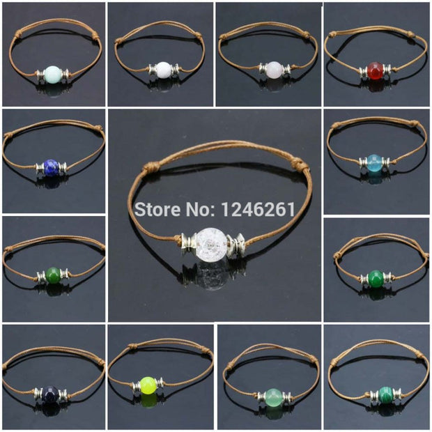 10pcs Natural Stone Beads Round Ball Accessory Bracelet Lucky Women Girls Birthday Present Gifts Jewelry Making Design 10mm