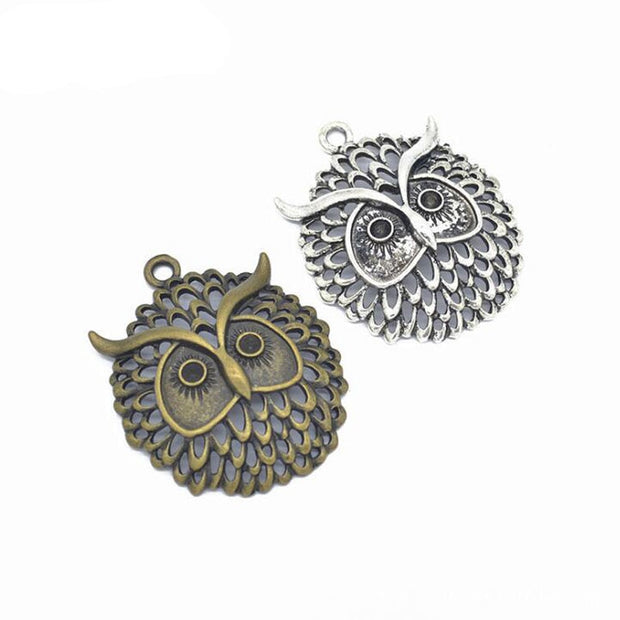 10pcs/lot 48x39mm Two Tone Plated Alloy Owl Charms Pendant Fit For Jewelry Findings