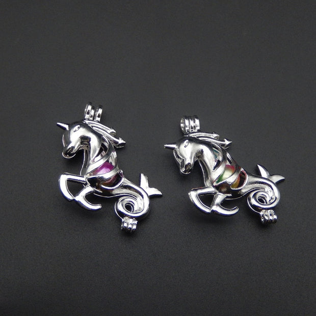 10pcs Silver Unicorn Pearl Cage Necklace Pendant, Aroma Oil Diffuser Adds Your Own Pearl, Stone Makes It More Attractive.
