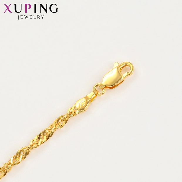 11.11 Deals Xuping Fashion Pure Gold Color Plated Long Necklace For Women Girls Chain Jewelry Beautiful Gifts S122.9-45128