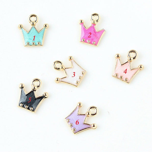 12*12mm Fashion Enamel Crown Dangle Charms Alloy 5 Styles Charm Necklace Pendant For Bracelet Accessories Jewellery