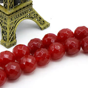 12mm Faceted Red Chalcedony Loose Beads DIY Jewelry Wholesale Suitable For Making Design Ornaments 15""