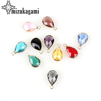 12pcs/lot Crystal Birthstones Water Heart-shaped Charms 10*15MM For Glass Living Memory Locket DIY Accessories