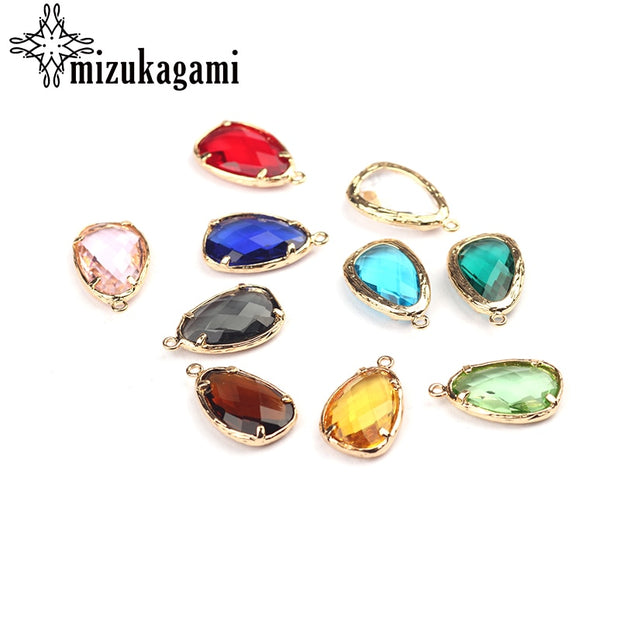 13*22mm 10pcs/lot Crystal Birthstones Charms Alloy Gold Tear Water Drop Shape Pendant For Living Memory Locket DIY Accessories