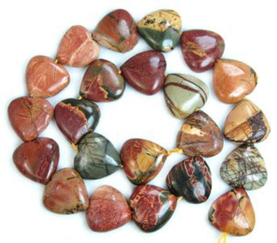 "! 14mm Multi-color Picasso Fashion Charming Chalcedony Chalcedony Heart Loose Beads 15"" JT5142"