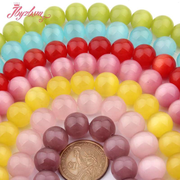 "14mm Smooth Round Beads Ball Cat Eye Stone Beads For DIY Necklace Bracelats Earring Jewelry Making 15"" Wholesale Free Shipping"