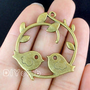 15pcs-Antique Silver / Bronze Birds Pair On Branch Charms 39x38mm