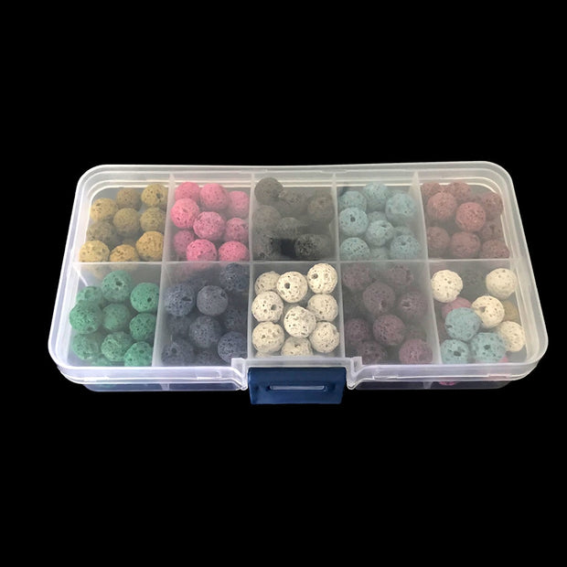 180pcs/Pack Natural Stone Mixed Color Artificial Volcanic Lava Stone Beads Round For DIY Bracelet Necklace Jewelry Making 8mm