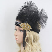 1920s Vintage Gatsby Party Headpiece Black Rhinestone Beaded Sequin Hair Band Women Flapper Headband Feather Hair Accessories