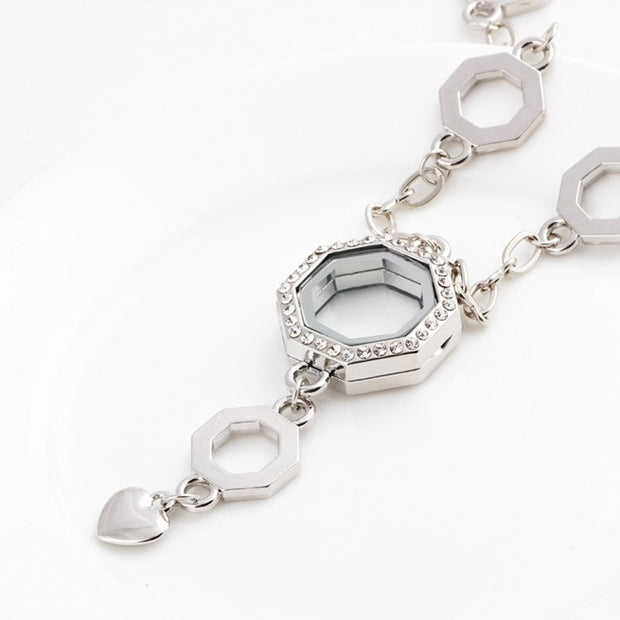 1PC Full Rhinestone Hexagon Glass Floating Locket Necklace Silver Sweater Necklace Fit Floating Charms