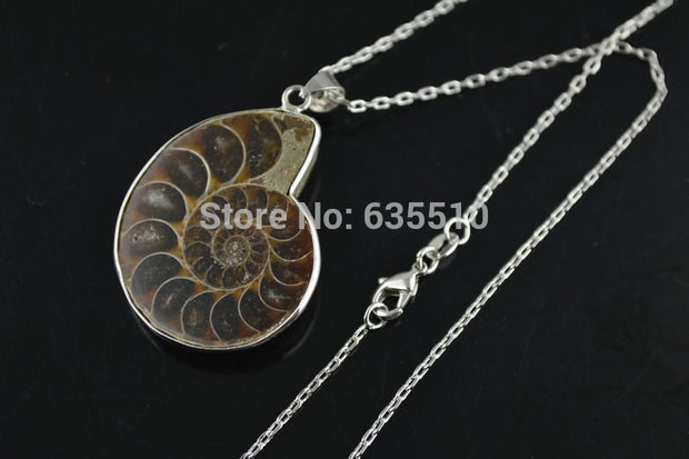 1pc Cute Ammolite Stone Pendant Linked Chain Fashion Woman Necklace