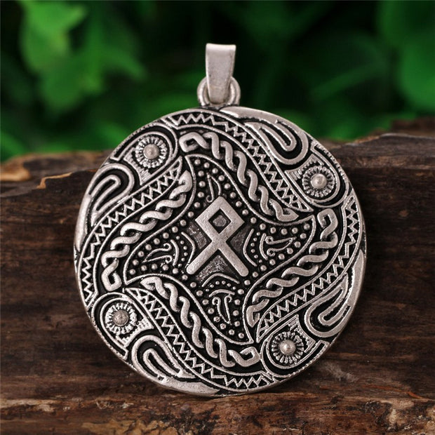 1pc Vintage Viking Othila Rune Charm Crow Odin Ravens Buckle Norse Viking Collier Choker Necklace