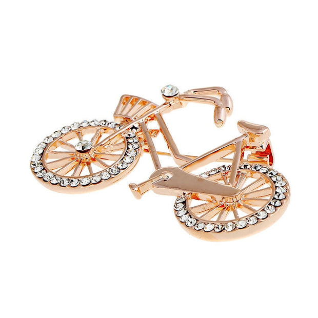 1pcs Large Gold / Silver Tone Crystal Bike Bicycle Brooches Pins For Women Party Wedding Pin Size: Approx. 30mm